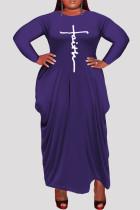 Purple Fashion Casual Plus Size Print Asymmetrical O Neck Long Sleeve Dresses