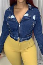 Deep Blue Fashion Casual Solid Ripped Zipper Collar Long Sleeve Regular Denim Jacket