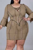 Maroon Fashion Solid Bandage Split Joint Asymmetrical O Neck Plus Size Two Pieces