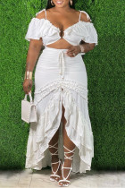 White Fashion Sexy Solid Bandage Backless Off the Shoulder Plus Size Two Pieces