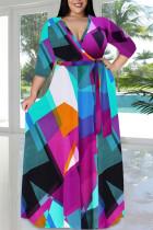 Purple Casual Print Bandage Split Joint V Neck Long Sleeve Plus Size Dresses