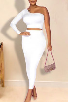 White Elegant Solid Split Joint Oblique Collar Long Sleeve Two Pieces