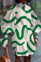 White Green Fashion Striped Print Split Joint Buckle Turndown Collar Shirt Dress Dresses