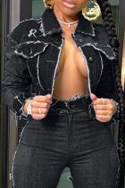 Black Casual Solid Split Joint Turndown Collar Long Sleeve Regular Denim Jacket