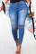 Medium Blue Fashion Casual Solid Ripped Plus Size Jeans