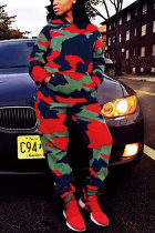 Camouflage Elastic Fly Mid camouflage Print Straight Pants Two-piece suit