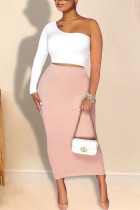 White Pink Elegant Solid Split Joint Oblique Collar Long Sleeve Two Pieces