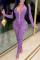 Purple Fashion Sexy Butterfly Print Split Joint Zipper Collar Skinny Jumpsuits