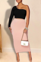 Black Pink Elegant Solid Split Joint Oblique Collar Long Sleeve Two Pieces