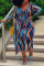 Blue Street Print Split Joint V Neck Straight Plus Size Dresses