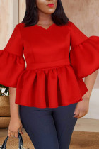 Red Casual Solid Split Joint Flounce V Neck Tops