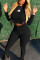 Black Sexy Solid Frenulum O Neck Long Sleeve Regular Sleeve Short Two Pieces