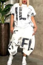 White Fashion Casual O Neck Patchwork Print Plus Size