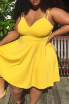 Yellow Fashion Sexy Plus Size Solid Backless V Neck Sling Dress