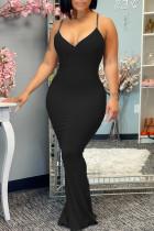 Black Elegant Solid Split Joint Spaghetti Strap Sling Dress Dresses