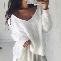 White Trendy Long Sleeves Sweaters