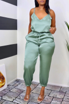 Green Sexy Solid Split Joint Spaghetti Strap Harlan Jumpsuits
