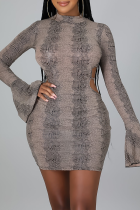 Khaki Sexy Print Hollowed Out Half A Turtleneck Pencil Skirt Dresses