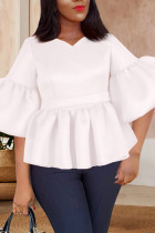 White Casual Solid Split Joint Flounce V Neck Tops