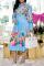 Sky Blue Casual Print Split Joint Turndown Collar Cake Skirt Dresses
