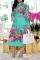 Mint green Casual Print Split Joint Turndown Collar Cake Skirt Dresses