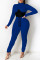 Deep Blue Fashion Casual Patchwork Bandage Half A Turtleneck Long Sleeve Two Pieces