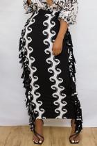 Black Fashion Casual Print Tassel Split Joint Regular High Waist Skirt