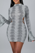 Grey Sexy Print Hollowed Out Half A Turtleneck Pencil Skirt Dresses