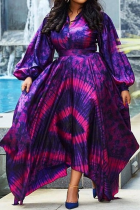Purple Casual Print Split Joint O Neck Cake Skirt Dresses
