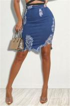 Baby Blue Fashion Casual Solid Ripped High Waist Regular Denim Skirts