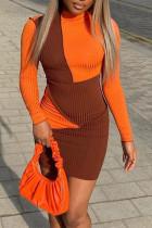 Orange Sexy Color Lump Solid Split Joint Half A Turtleneck Pencil Skirt Dresses