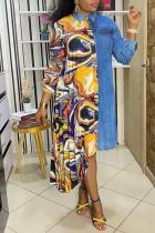 Yellow Print Split Joint Turndown Collar Irregular Dress Plus Size Dresses (Wtihout Belt)