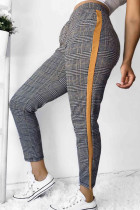 Yellow Casual Grids Printed Plaid Pants
