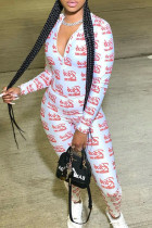 White Sexy Letter Print Split Joint Zipper Collar Skinny Jumpsuits