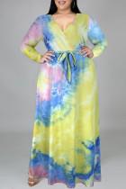 Yellow Blue Fashion Casual Tie Dye Printing V Neck Long Sleeve Plus Size Dresses