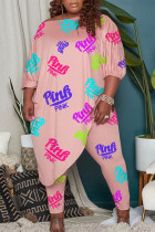 Pink Casual Print Split Joint Asymmetrical Off the Shoulder Plus Size Two Pieces