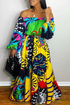 Yellow Fashion Casual Print Backless Off the Shoulder Long Sleeve Dresses
