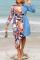 Tangerine Red Print Split Joint Turndown Collar Irregular Dress Plus Size Dresses (Wtihout Belt)