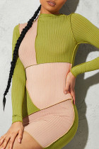 Green Sexy Color Lump Solid Split Joint Half A Turtleneck Pencil Skirt Dresses