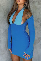 Blue Sexy Solid Hollowed Out Split Joint Halter Pencil Skirt Dresses