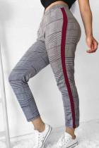 Black & White Tartan Casual Grids Printed Plaid Pants