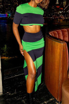 Green Casual Striped Print Split Joint Slit O Neck Short Sleeve Two Pieces