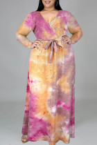 Orange Fashion Casual Tie Dye Printing V Neck Long Sleeve Plus Size Dresses