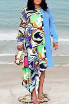Green Print Split Joint Turndown Collar Irregular Dress Plus Size Dresses (Wtihout Belt)