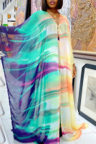 Purple Green Fashion Casual Print Slit V Neck Long Sleeve Two Pieces