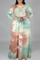 Cyan Fashion Casual Tie Dye Printing V Neck Long Sleeve Plus Size Dresses