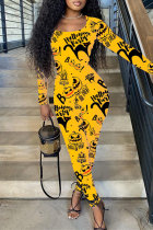 Yellow Fashion Casual Print Basic O Neck Skinny Jumpsuits