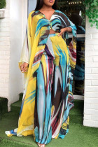Blue Yellow Fashion Casual Print Slit V Neck Long Sleeve Two Pieces