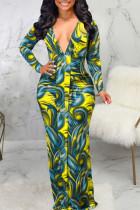 Yellow Sexy Print Split Joint V Neck Long Sleeve Dresses