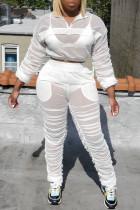 White Fashion Casual Solid See-through Turndown Collar Plus Size Four-piece Set